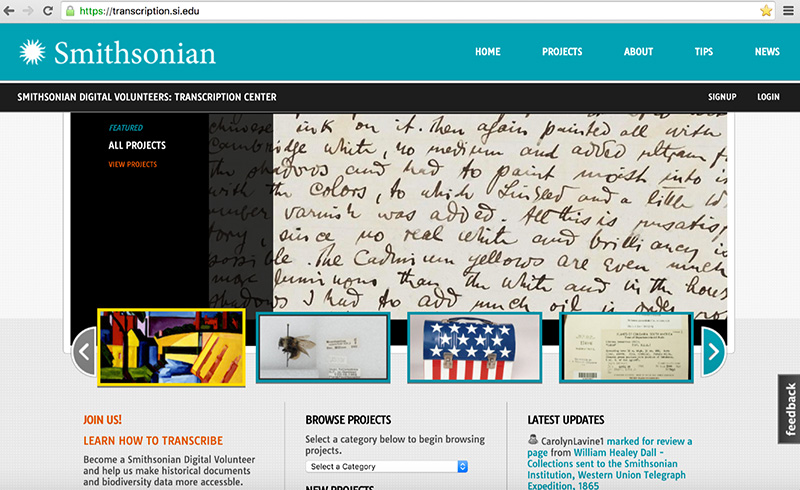 The homepage of the Smithsonian Transcription Center